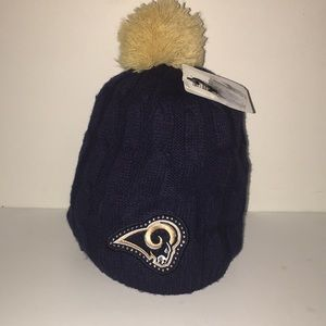 Women's Los Angeles Rams Knit Hat With Pom NWT